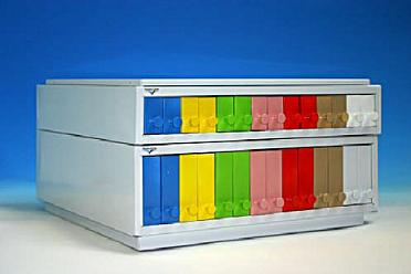 Classifier for slides with yellow plastic drawers